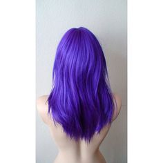 Purple Wig. Medium length straight layered purple colored hair... ($79) ❤ liked on Polyvore featuring hair