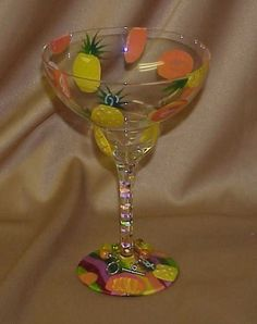Collectible LOLITA Pineapple Tangerine Wine Margarita Champagne Glass Stem
