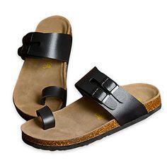 Black US Size 10 Flexible Straps Manmade Sole Toe Loop Men Sandal