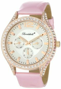 Bombshell Women's BS1008PI Lara Dramatic Pink Patent Strap Crystal Case Watch Bombshell. $150.00. Dazzling Colorful Gift Box. Intricate Crystal Detailing on All Sides of Case. Elaborate 3 Eye Multi Function Dial. 192 Swarovski Crystal Stone Bezel. Elegant Pink Italian Patent Leather Strap