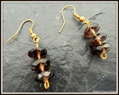 smokey quartz rondelles drop earrings smokey by realmofgemsdesigns, £10.00
