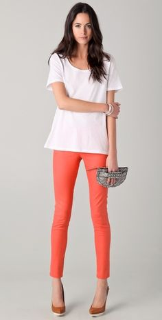Victoria Beckham Wax Legging Jeans in Coral Victoria Beckham Jeans, Coated Jeans, Spring Style, Cotton Tee, Spring Fashion, Fashion Inspiration, Wax, Coral, Skinny Jeans