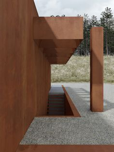 Situated at a hillside in Chodziez, Poland, this house designed by Polish architectural firm DE.MATERIA, is wholly cladded with corten steel and features huge glass windows that overlook a lake. Innovative Architecture, Architecture Details, Interior Architecture, Interior And Exterior, Garden Architecture, Interior Design Images, Interior Design Boards, Stair Detail, Home On The Range
