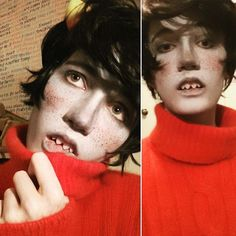 Did a Kankri test-- what do you guys think??  (Haven't gotten contacts yet but I might if I do this again)  #cosplay #homestuck #kankrivantas #kankri #cosplayer #cosplaymakeup #cosplaymakeuptest
