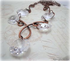 Vintage Copper And Chandelier Crystal by RainwaterStudios on Etsy, $68.00