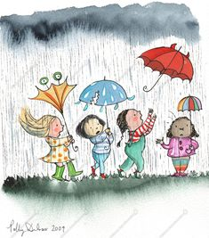 Children's Book Illustration by Polly Dunbar.  This reminds me of what I have to put up with when walking to work in the rain and wind. Umbrella Art, Under My Umbrella, Rainy Day Drawing, I Love Rain, Frida Art, Bless The Child, Dancing In The Rain, Children's Book Illustration, Easy Drawings