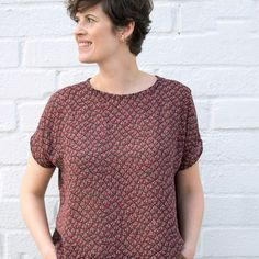 The Lou Box Top by Sew DIY is a versatile, loose fitting top with two neckline options and three hem options, for a total of six different silhouettes.