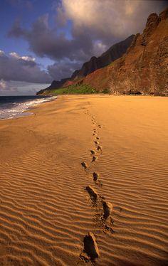 Foot Prints in Sand, Kalalau Beach, Napali Coast, Kauai, Hawaii
