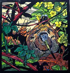 Andrew Haslen - Spring Woodcock linocut