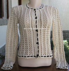 Olá pessoal! Hoje trouxe um casaquinho em crochê confeccionado com fio em algodão, inspirado em uma das marcas mais famosas do mundo( Chanel...
