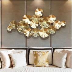 Modern Wrought Iron Lotus Leaf Wall Hanging Crafts Wall Decoration Livingroom Sofa Background Wall Sticker Mural Ornaments Art| | - AliExpress Wrought Iron Wall Art, Metal Wall Decor, Wall Art Decor, Gold Metal Wall Art, Gold Wall Decor, Living Room Colors, Living Room Art, Art Pour Salon, Nordic Art
