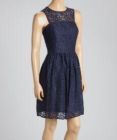 Navy Lace Yoke Dress