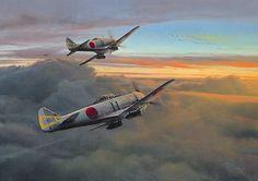 Into the Sun by Richard Taylor Nakajima Ki44 Shoki (Tojo)