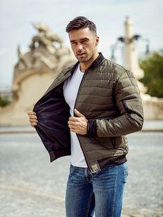 Pánska zelená bomber bunda MNAK-84A Bomber Jacket, Winter Jackets, Outfit, Fashion, Fashion Styles, Winter Coats, Outfits, Moda, Winter Vest Outfits