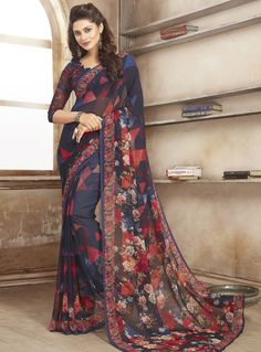 Navy Blue Georgette Casual Wear Saree 84761