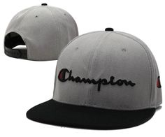 Mens Champion Reverse Weave Script Champion Logo Embroidery Baseball Snapback Hat - Grey / Black