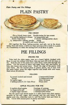 Apple Pie and Pastry Recipes ~ Here is a well-used vintage cookbook page that includes an illustration of apple pie and recipes for pie crust, prune pie and apple pie filling. The page is from Igleheart's Cake Secrets, Pie Crust Recipes, Apple Pie Recipes, Pastry Recipes, Cookbook Recipes, Cooking Recipes, Pie Crusts, Pie Fillings, Cake Recipes, Cookbook Pdf