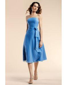 Beautiful & Unique dress - Applique Ruffles Strapless Chiffon Blue A-line Bridesmaid Dress on sale - Persun