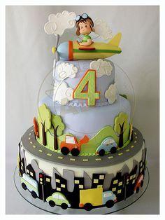 Bolo Meios de Transportes. Transportation cake for little boy birthday