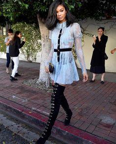 Top model @ChanelIman skips the ubiquitous suit or slip dress in favor of an ultra-feminine yet Mod mini dress.  #TodaysStyleSecret