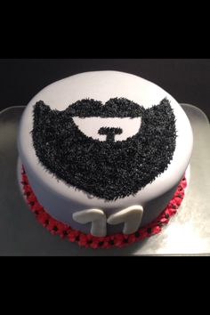 Mustache and beard birthday cake grey, black and red