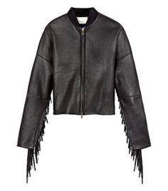 Phillip Lim Leather Bomber with Fringe -  Get bohemian chic at #ShopBAZAAR http://shop.harpersbazaar.com/in-the-magazine/the-style-bohemian-rhapsody