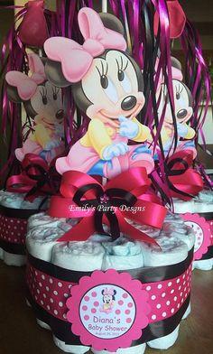 Centro de Mesa de Pañales Minne Mouse con Globo por designsbyemilys