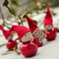 Aarikka - Christmas elf ornaments from Candice Mendousse - Joyeux Noel Christmas Ornament Crafts, Noel Christmas, Christmas Projects, Winter Christmas, All Things Christmas, Handmade Christmas, Holiday Crafts, Norway Christmas, Theme Noel