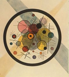 I send you a work around the circle from a painting by Kandinsky! The great circle was drawn by ATSEM Using lids of different sizes, the children freely traced the inner circles They then painted in ink . Paul Klee, Abstract Words, Abstract Art, Abstract Landscape, Art Kandinsky, Kandinsky Prints, Wassily Kandinsky Paintings, Kunst Poster, Art Plastique