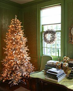Green Christmas Tree:   In the corner of Martha's green room in her Bedford, New York home, a glittering tree welcomes guests.