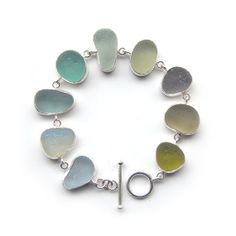 Sea Glass bangle bracelet bezel set sea foam colored seaglass in sterling silver and silver filled hammered bracelet