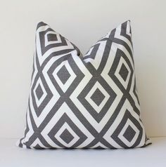 "Charcoal Grey Geometric Designer Pillow Cover 18"" Modern accent cushion hollywood regency david hicks style neutral graphite"