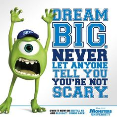 Mike Wazowski though Monsters University Quotes, Monsters Inc Quotes, Monster Quotes, Disney Monsters, Disney Pixar, Funny Monsters, Monster University Party, Senior Quotes, Pixar Movies