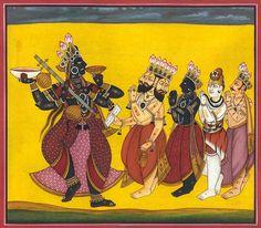 Brahma, Vishnu, Shiva and Indra Pray to Adi Devi (Tantric Devi Series), Hindu Watercolor on PaperArtist: Kailash Raj Indian Artwork, Indian Folk Art, Indian Paintings, Vintage Paintings, Kali Shiva, Kali Mata, Lord Shiva, Mother Kali, Hindu Statues