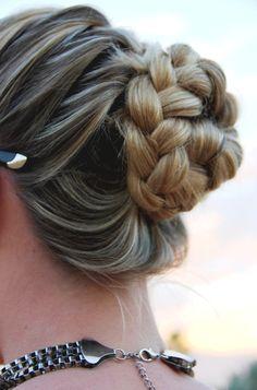French braid into a braided bun!  So easy, why didn't I think of that?