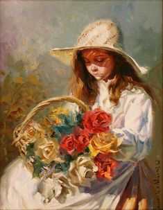 Title unknown [girl with basket of roses] -- by Juan González Alacreu Spanish) Spanish Painters, Spanish Artists, Photo D Art, Old Art, Graphic Patterns, Great Artists, Impressionist, Art For Kids, Art Children