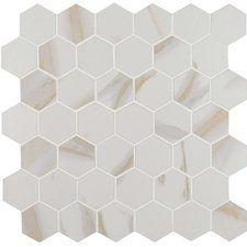 "Calcatta 2"" x 2"" Hexagon Porcelain Mosaic Tile in White"