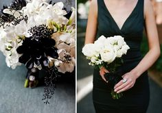 Love the black white beige bouquet for bride and ivory bouquet for bridesmaids with long black dress
