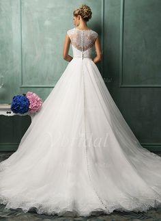Balklänning Rund-urringning Chapel släp Organzapåse Bröllopsklänning med Spetsar Applikationer Spetsar Rosett/-er (0025093237) - mvbridal