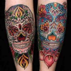 Dia de los Muertos skull tattoos