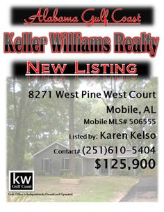 8271 West Pine West Court, Mobile, AL...MLS# 506555...$125,900...3/2...Tons of updates! New granite, new wood flooring, new tile, etc. 2 walk in closets in the master, w/desk & sitting area. The crown molding adds so much! Great open floor plan w/vaulted ceilings & a warm fire for winter nights! The kitchen is set up to be open. The new tile & granite sets the scene w/the shinny new appliances! The backyard is completely privacy fenced w/a storage building. Contact Karen Kelso at…