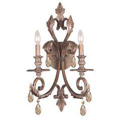 Crystorama Royal 2 Light Candle Wall Sconce Crystal: Golden Teak Majestic Wood Polish