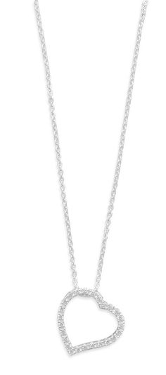 "16"" Sterling Silver Chain with Cut Out CZ Heart Pendant  Necklace #Pendant"