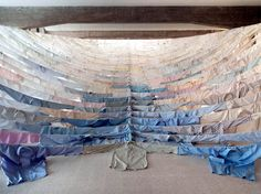 lostinfiber: 'Are We Still Going On' by Finnish environmental artist Kaarina Kaikkonen at Collezione Maramotti in Reggio Emilia, Italy. Reggio Emilia, Art Textile, Textile Design, Textile Artists, Fabric Installation, Art Installations, Textiles, Fabric Art, Oeuvre D'art