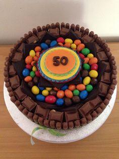 Deluxe chocolate cake, peanut M&Ms.