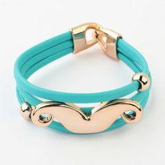 $3.42 Chic Moustach Embellished Fluorescence Color Strand Bracelet For Women