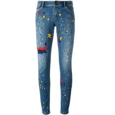 Alice+Olivia splatter print skinny jeans ($410) ❤ liked on Polyvore featuring jeans, pants, bottoms, jeans/pants, splatter, blue, blue skinny jeans, cut skinny jeans, denim skinny jeans and print jeans