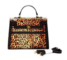 Leopard Embossed Box Briefcase Satchel