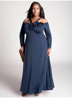 Vestido de Fiesta de color Azul para Gorditas