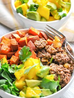 12. Sweet Potato and Pineapple Beef (but replace with Ground Turkey) Bowls #whole30 #recipes http://greatist.com/eat/whole30-dinner-recipes